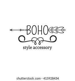 Vector illustration of boho logo collection. Bohemian logo with arrow. Black and white color boho logo. Isolated on white background. Hand drawn.