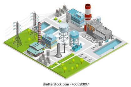 Vector illustration of boiler factory for production of thermal and electrical energy with power line supports isometric concept