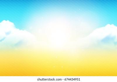 Vector Illustration - Bokeh Cloudy Sky In Summertime Background / Wallpaper