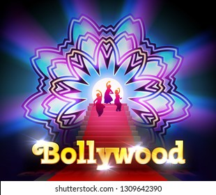 Vector illustration of Bollywood red carpet event with dancing women on flower mandala round ornament and lighting background, cinema template with golden shining logo on black background