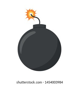 Vector illustration of a bomb with a burning wick in cartoon style