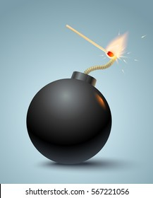 Vector illustration of a bomb and match in fire and sparks