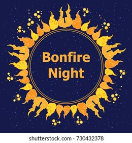 Burns night stock vectors images vector art shutterstock vector illustration of bonfire night greeting card with orange flames and fires circle on dark night m4hsunfo