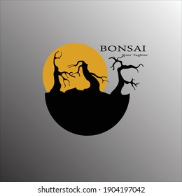 vector illustration of bonsai tree logo design suitable for sticker emblem paste