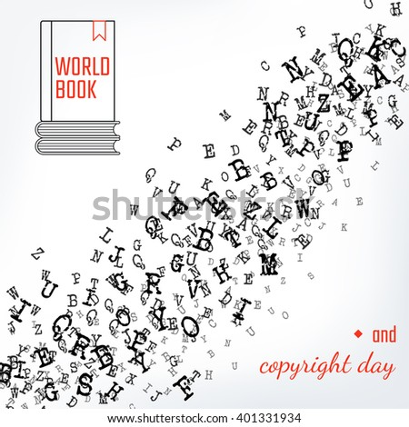 Vector Illustration Book Copyright Day Background Stock Vector