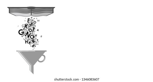 vector illustration of book with dropping letters falling into filter for careful learning and reading concept