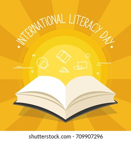Vector illustration of a book for International Literacy Day.