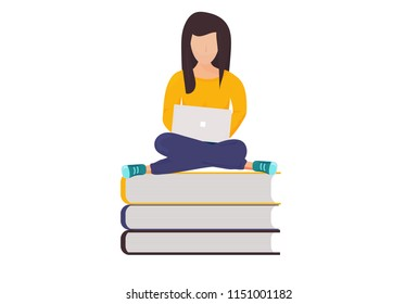 Vector illustration for book reading or online library promotion: Girl with notebook sitting on books.