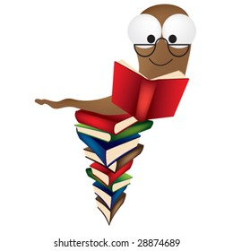a vector illustration of a book worm on a huge pile of books