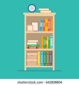 vector illustration of books on bookshelf.home interior design