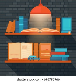 Vector illustration of bookshelf on brick wall. Template banner reading books and education. Collection of elements for design. Background for web pages, invitation cards, covers, posters.