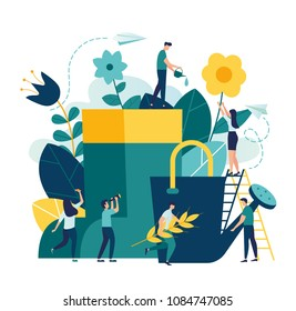 Vector illustration of boots, watering can and flowers on white background, gardeners taking care of the garden, growing and studying plants in nature, clean ecology, garden tools