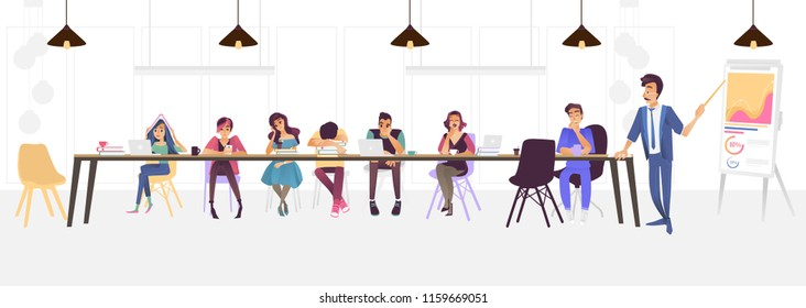Vector illustration of bored people at business meeting or lecture - group of cartoon men and women sitting at long table with books and laptops tired and uninterested isolated on white background.