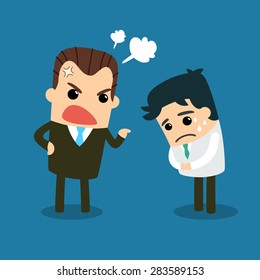 Vector, Illustration, Boss angry at employee.