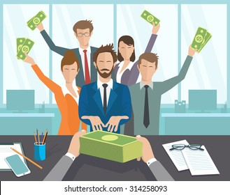 Vector illustration, boss issues, groups of people pay. The office manager or workers receive a monthly salary.