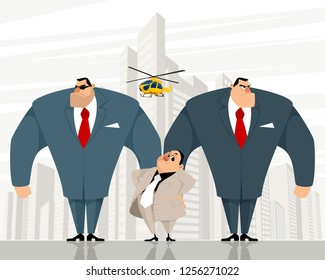Vector illustration of a boss with two bodyguards