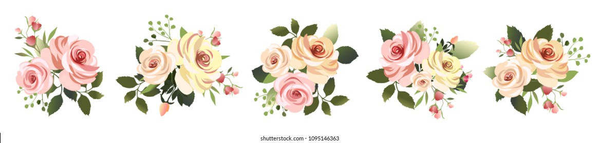 Vector illustration. Botanical collection. Set of romantic bouquets. Flower arrangements of leaves and pink roses .