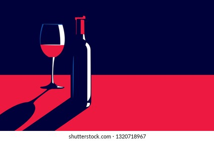 Vector illustration of a bottle and glass of red wine on the table in vintage elegant minimal style.