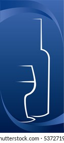Vector illustration of the bottle and glass of wine, over the blue background