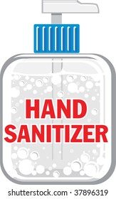 a vector illustration of a bottle of hand sanitizer