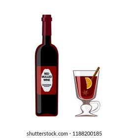 Vector illustration of bottle mulled wine with glass, isolated on white background