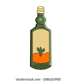 Vector illustration a bottle of tequila. Cartoon style. Wild west theme.
