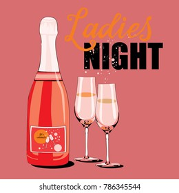 Vector illustration of bottle with two glasses and bubbles on light red background. Ladies Night.