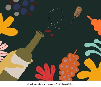 Vector illustration a bottle of wine among flowers and leaves. Naive style, colorful elements background and shapes for your design, presentation, package, poster, decoration.