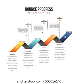 Vector illustration of bounce progress infographic design element