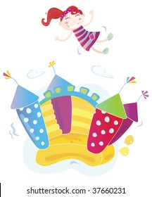 Vector Illustration of a bouncy castle with girl jumping on it. Easy to resize and change colors!