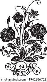 Vector illustration of bouquet of flowers, black  silhouette on white background