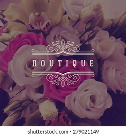 Vector illustration - boutique logo template with flourishes calligraphic elegant ornament frame on a flowers background