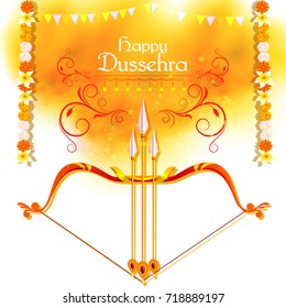 vector illustration of Bow and ARrow of Lord Rama for Happy Dussehra festival of India