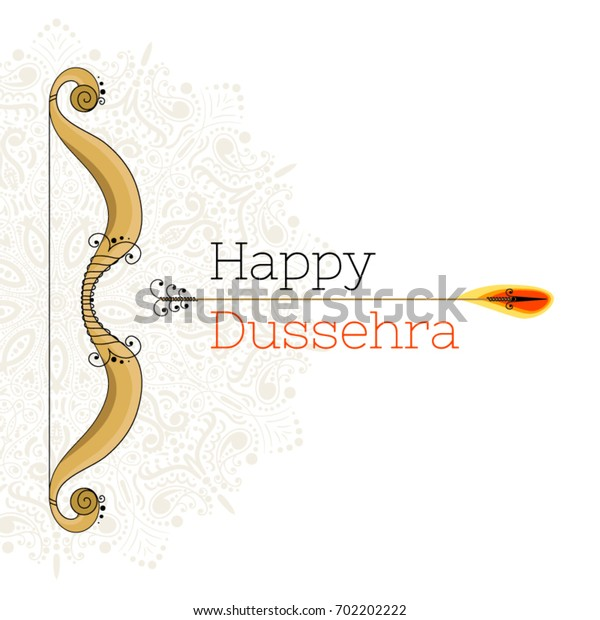 "Vector illustration with a bow, arrow and mandala. With the inscription ""happy dussehra"""