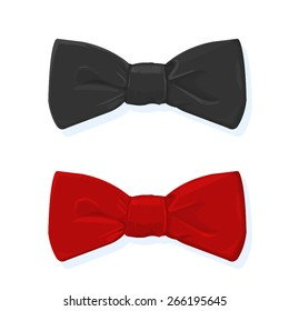 A vector illustration of a bow tie. Bow tie. Red and black tie evening wear.