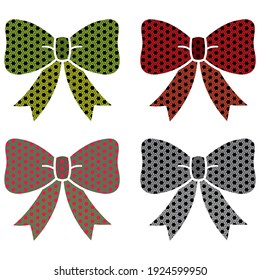 Vector Illustration Of Bow Tie. Bow Tie With Seamless Pattern. Arabesque Patterned Bow Tie