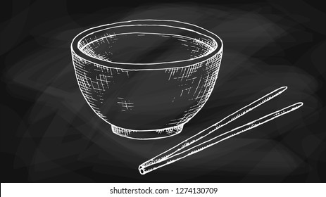 Vector Illustration of Bowl and Chopsticks Chalkboard Sketch Style