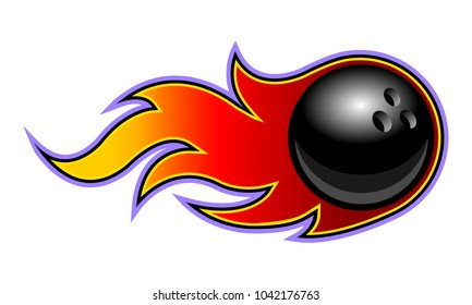 Vector illustration of bowling ball with simple flames. Ideal for stickers, decals, sport logo design element and any kind of decoration.