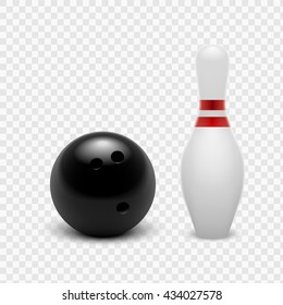 Vector illustration bowling ball and skittles. Isolated on a transparent background. EPS 10