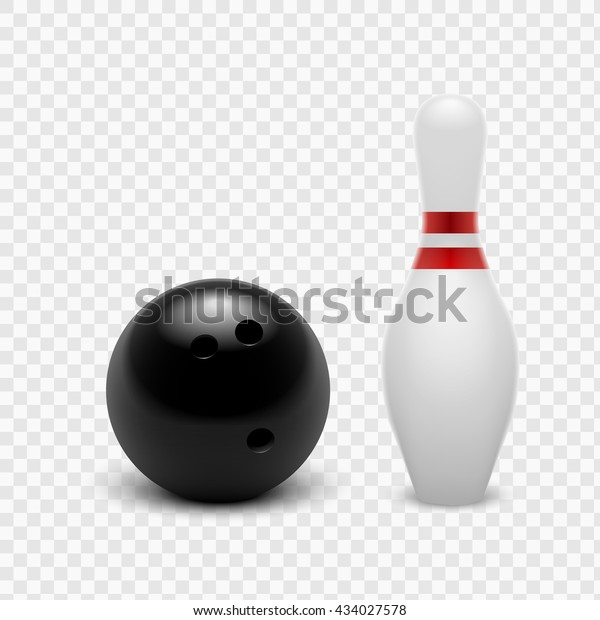 Vector Illustration Bowling Ball Skittles Isolated Stock
