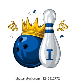 Vector illustration of bowling skittle and blue bowling ball in golden crown, isolated on white background. Bowling award for 1st place. Champion 1.1