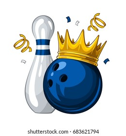 Vector illustration of bowling skittle and blue bowling ball in golden crown, isolated on white background. Winner. Champion 1.1