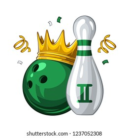 Vector illustration of bowling skittle and green bowling ball in golden crown, isolated on white background. Bowling award for 2st place. Champion 1.1