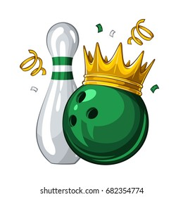 Vector illustration of bowling skittle and green bowling ball in golden crown, isolated on white background. Winner. Champion 1.1