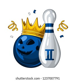 Vector illustration of bowling skittle and halloween blue bowling ball with face in golden crown, isolated on white background. Bowling award for 2st place. Halloween 1.1