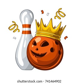 Vector illustration of bowling skittle and halloween blue bowling ball with face in golden crown, isolated on white background. Halloween. Winner. Champion 1.1