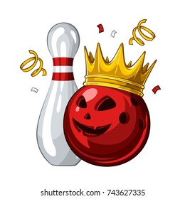 Vector illustration of bowling skittle and halloween red bowling ball with face in golden crown, isolated on white background. Halloween. Winner. Champion 1.1