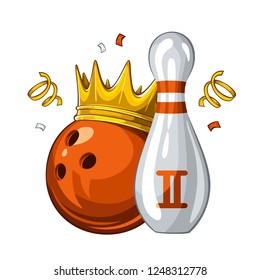 Vector illustration of bowling skittle and orange bowling ball in golden crown, isolated on white background. Bowling award for 2st place. Champion 1.1