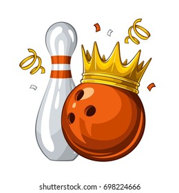 Vector illustration of bowling skittle and orange bowling ball in golden crown, isolated on white background. Winner. Champion 1.1