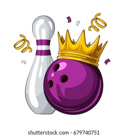 Vector illustration of bowling skittle and purple bowling ball in golden crown, isolated on white background. Winner. Champion 1.1